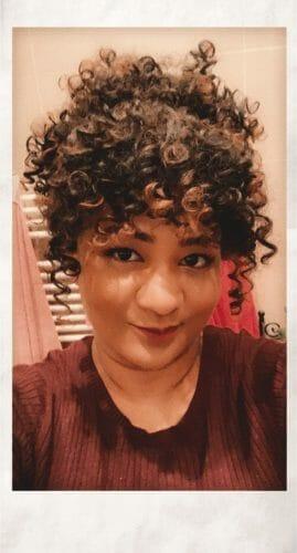 Front Lace Wig Fashion Cabelo Sintético Afro Cacheado 4 Cores de 35cm photo review