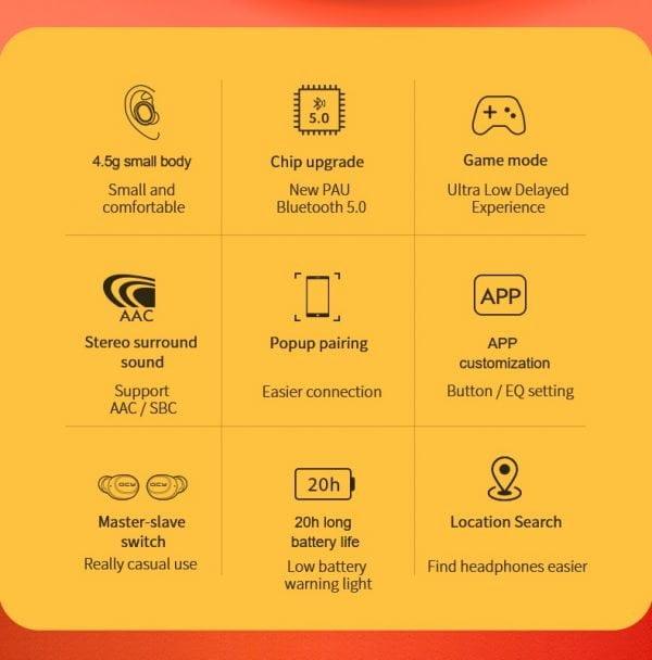 Fones de ouvido bluetooth 5.0 Com GPS Qcy t4
