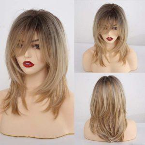 Front Lace Wig Fashion Cabelo Sintético Franja Loiro Com Mechas 35cm