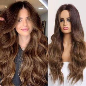 Front Lace Wig Fashion Cabelo Sintético Castanho Claro 65cm
