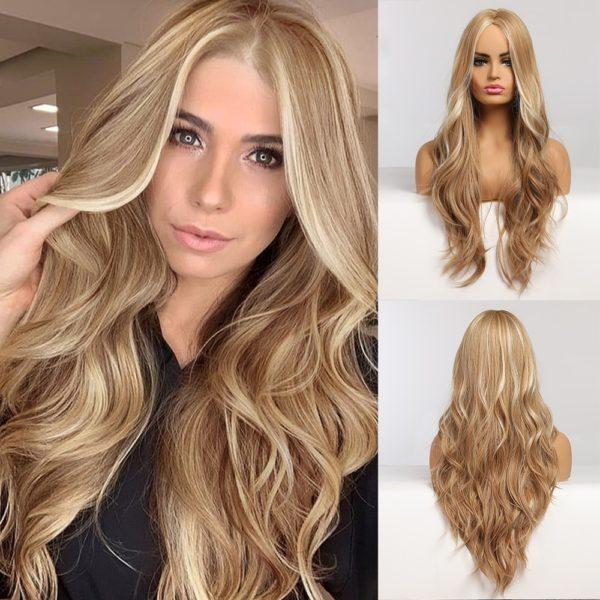Front Lace Wig Fashion Cabelo Sintético Loiro Com Mechas 65cm