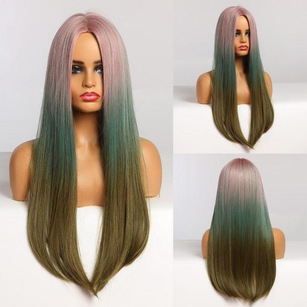 Front Lace Wig Fashion Cabelo Sintético Multicolorido 65cm