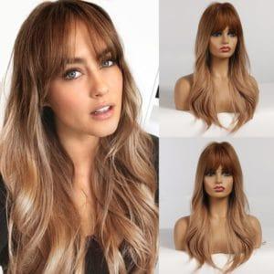 Front Lace Wig Fashion Cabelo Sintético Franja Acobreado 65cm