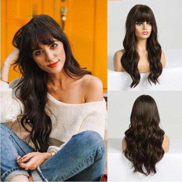 Front Lace Wig Fashion Cabelo Sintético Franja Castanho Médio 65cm