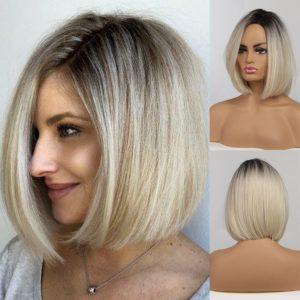 Front Lace Wig Fashion Cabelo Sintético Loiro Black 35cm