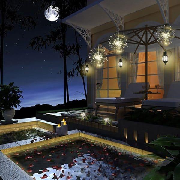 Luzes de LED para Decoração ao Estilo de Fogos de Artifício em Fio de Cobre com Controle Remoto