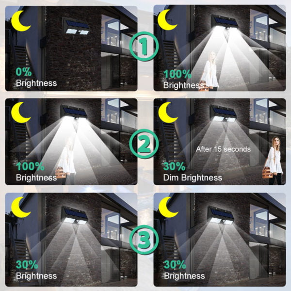Luz de Segurança com Sensor de Movimento e Painel Solar- Sem Necessidade de Cabos e Fácil Instalação!