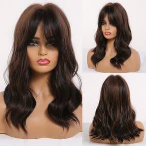 Front Lace Wig Fashion Cabelo Sintético Franja Castanha Com Mechas 55cm