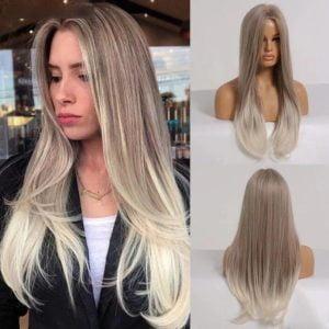 Front Lace Wig Fashion Cabelo Sintético Loiro Acinzentado 65cm