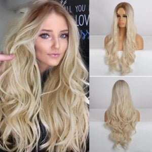 Front Lace Wig Fashion Cabelo Sintético Loiro Claro 65cm