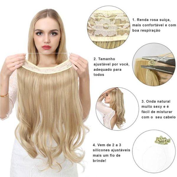 Aplique de Cabelo Mega Hair Wig Extension Califórnia Escuro