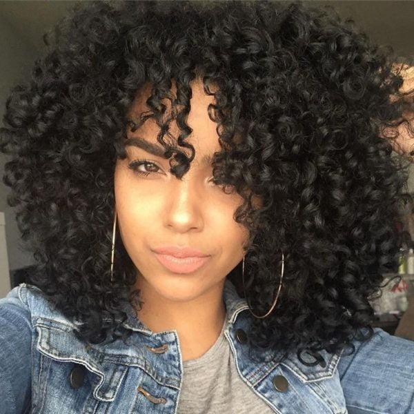 Front Lace Wig Fashion Cabelo Sintético Afro Cacheado 4 Cores de 35cm