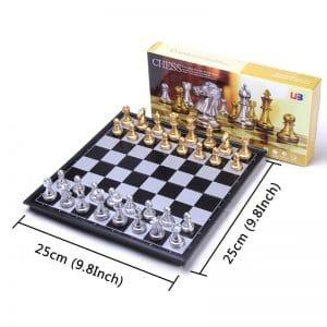 Tabuleiro Jogo de Xadrez Magnético com 32 Peças Douradas e Prateadas 25x25cm