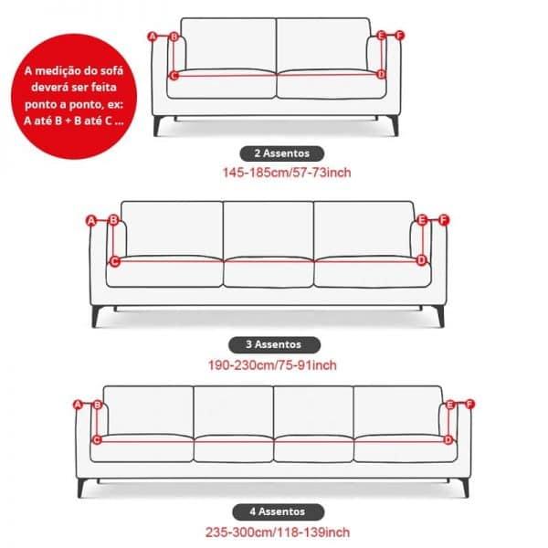 Capa para Sofá de 2, 3 e 4 Lugares Tecido Spandex - Vários Modelos
