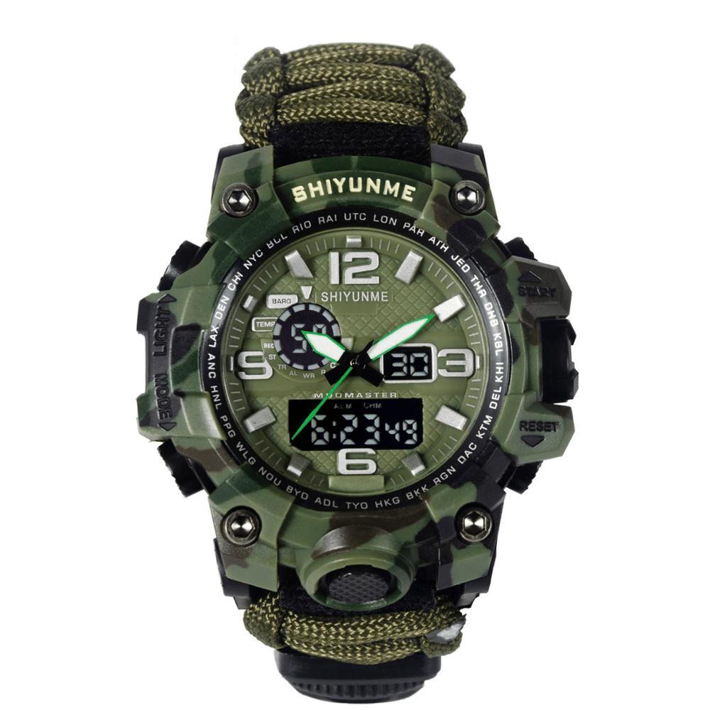 Relógio Tático Adventure Watch com 8 funções de Sobrevivência