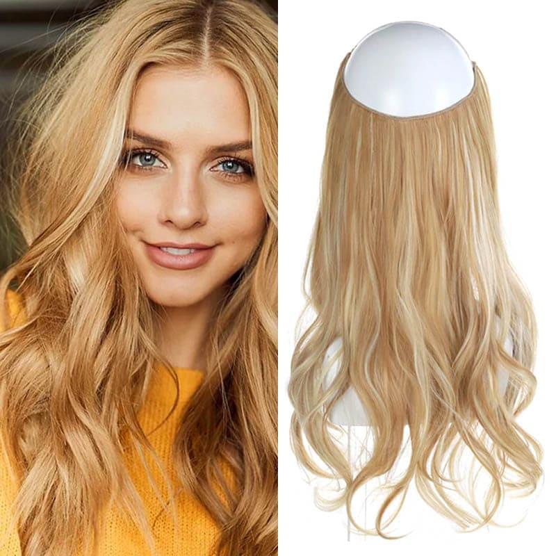 Aplique de Cabelo Mega Hair Wig Extension Loiro Dourado Mesclado 50cm