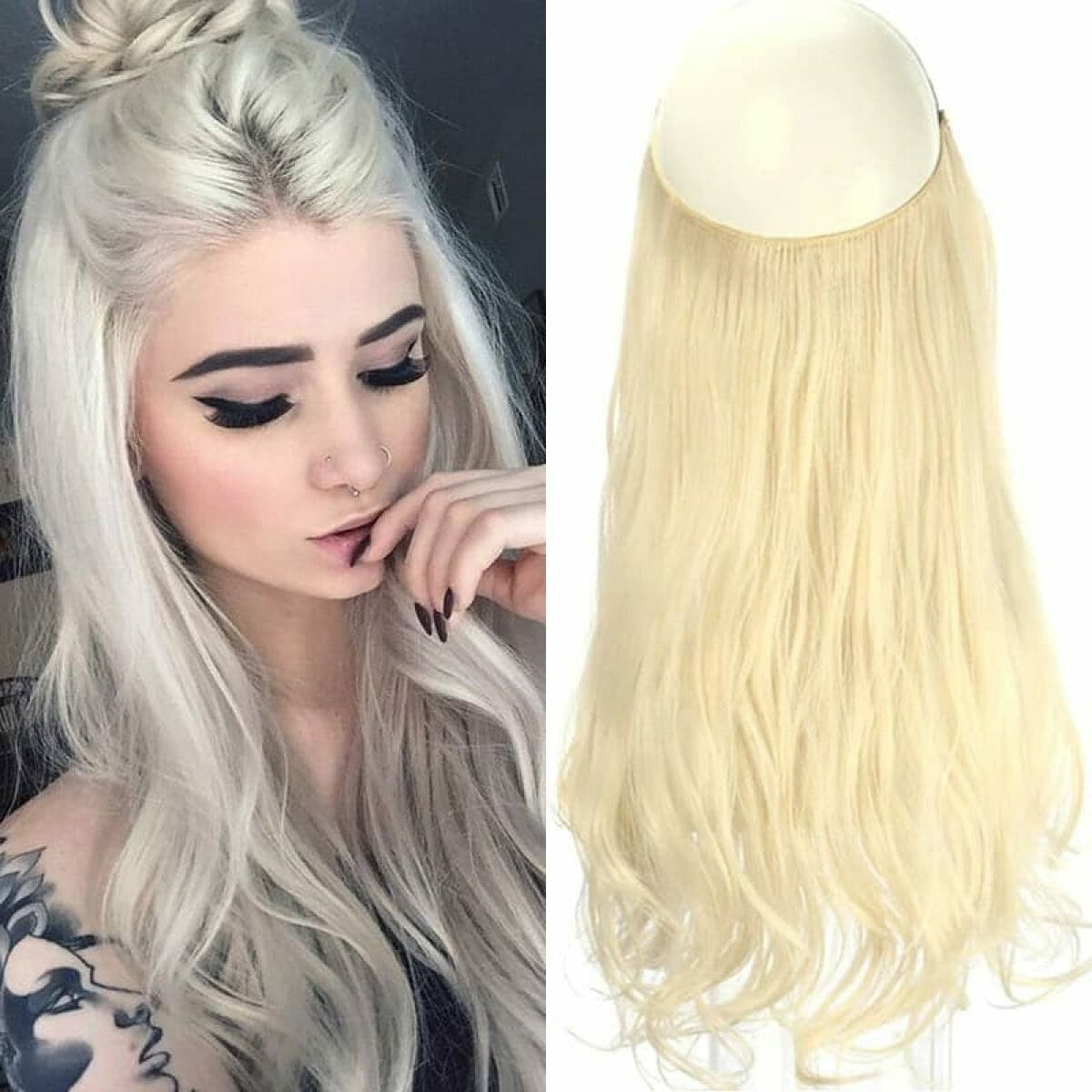 Aplique de Cabelo Mega Hair Wig Extension Loiro Platinado 50cm