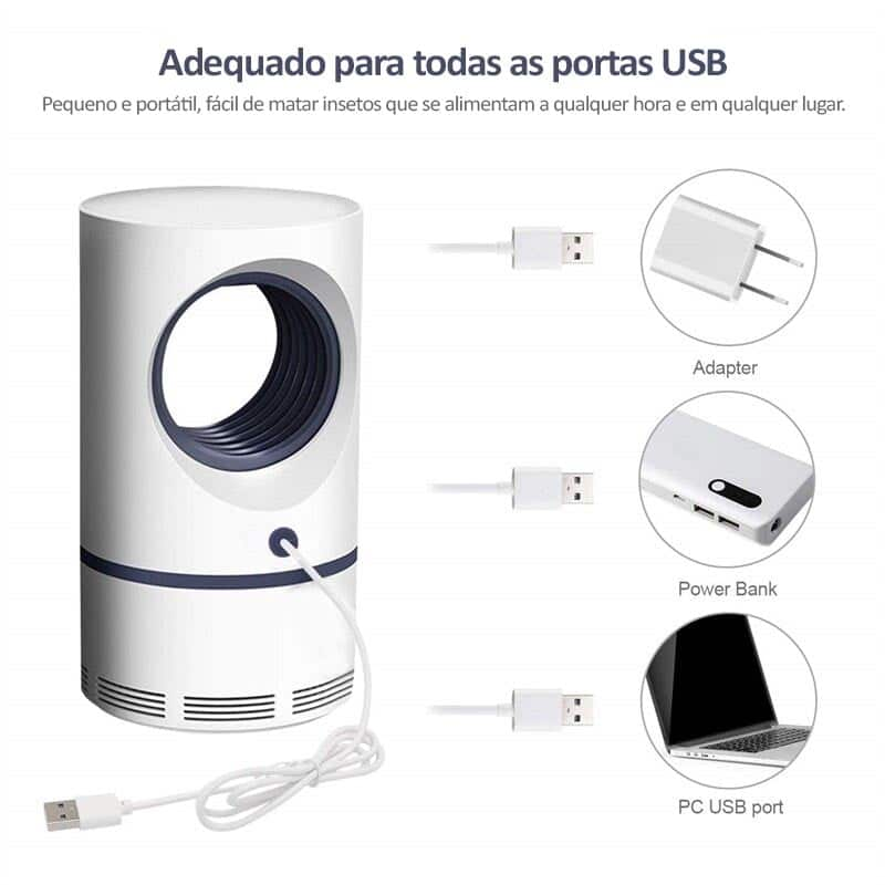Mata Mosquito Pernilongo Lâmpada LED Carregamento USB
