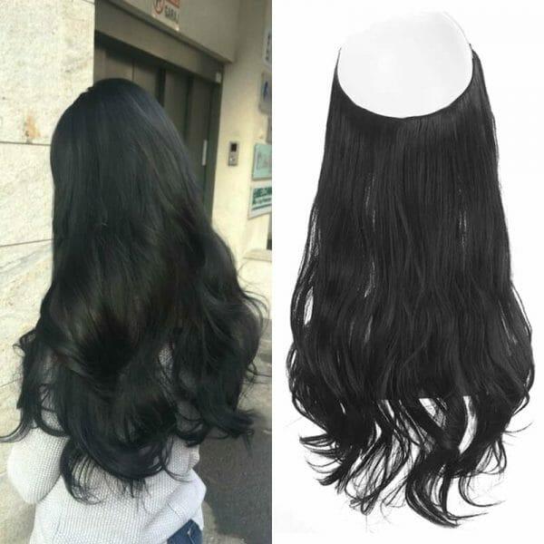 Aplique de Cabelo Mega Hair Wig Extension Preto Azulado 50cm
