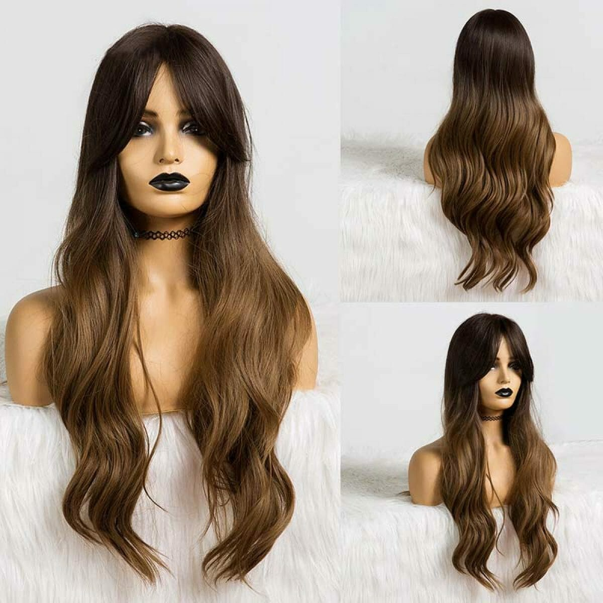 Front Lace Wig Fashion Cabelo Sintético Dark Night 65cm
