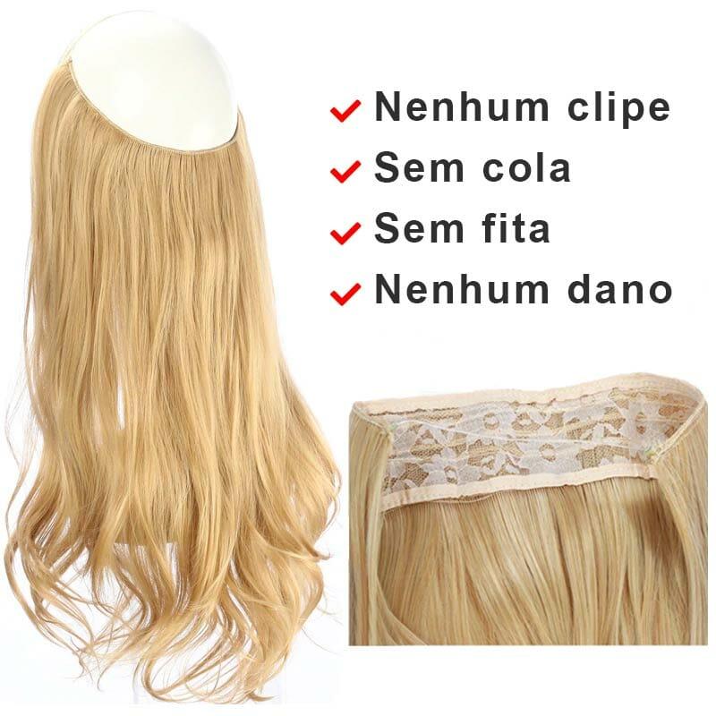Aplique de Cabelo Mega Hair Wig Extension Castanho Claro Luzes 50cm