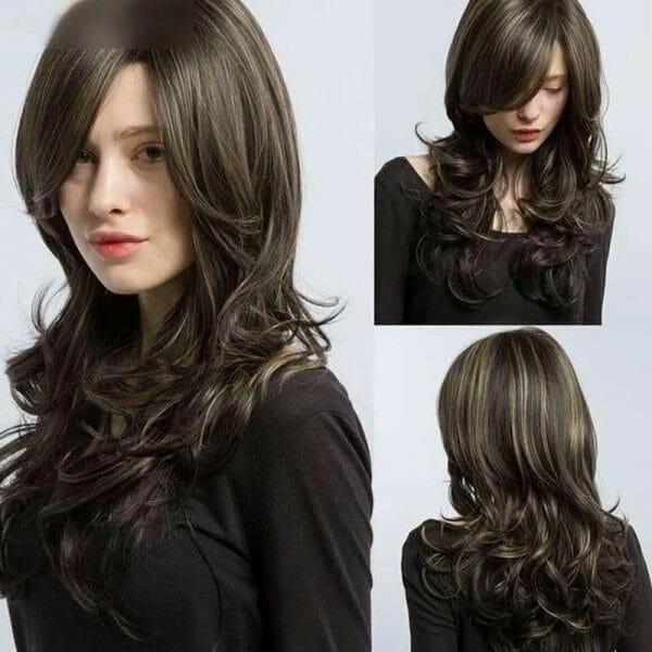 Front Lace Wig Fashion Cabelo Sintético Franja Preto com Mechas 65cm