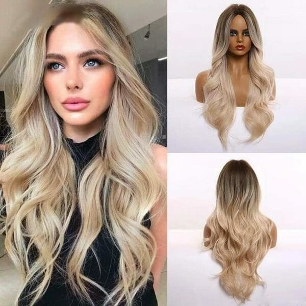 Front Lace Wig Fashion Cabelo Sintético Loiro Gold 65cm