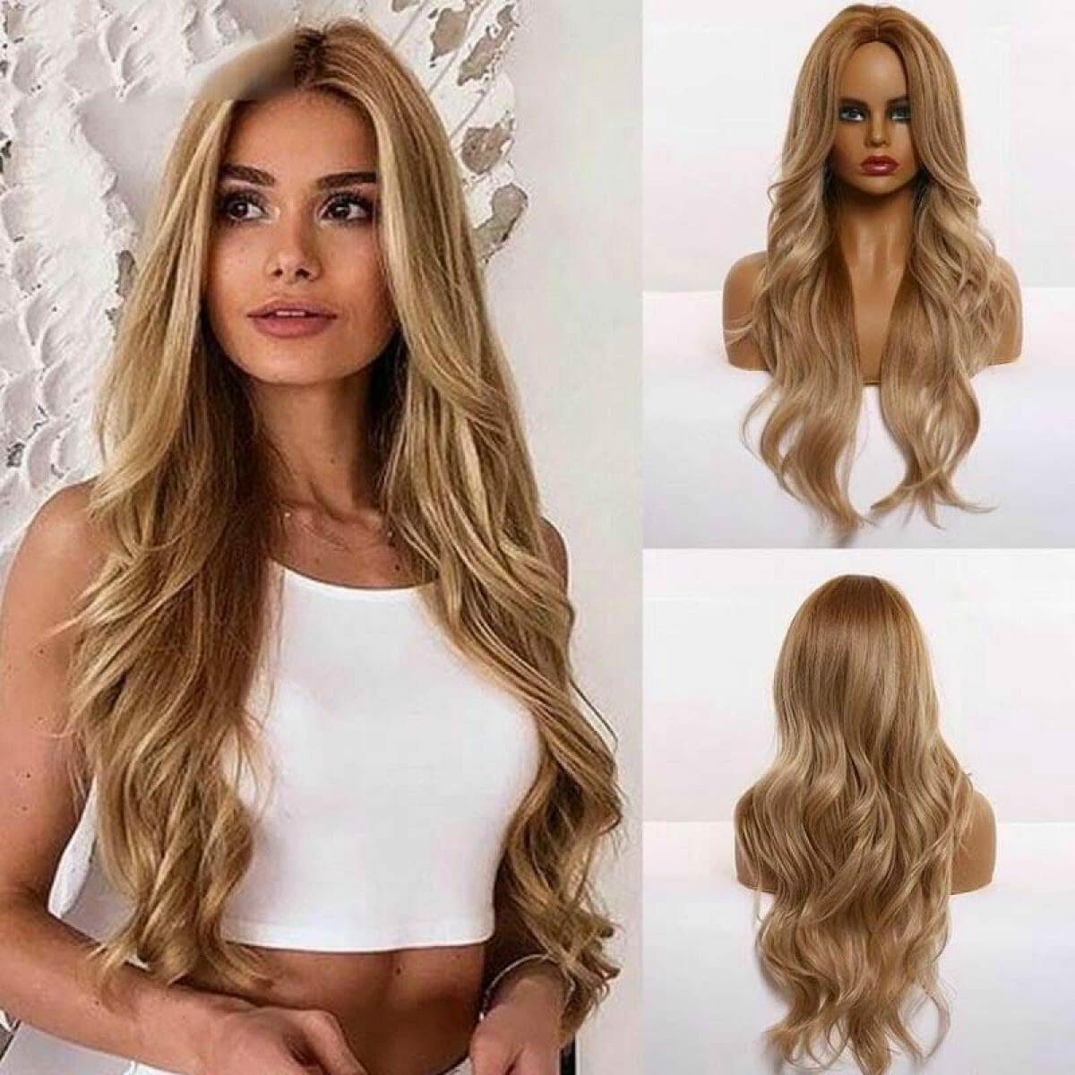 Front Lace Wig Fashion Cabelo Sintético Loiro Ouro 65cm