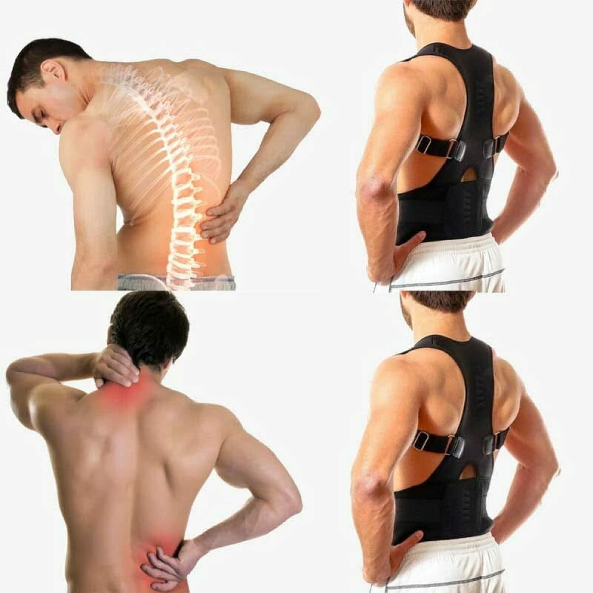 Corretor de Postura Magnético com Turmalina para Coluna Ombro Cervical Ajustável