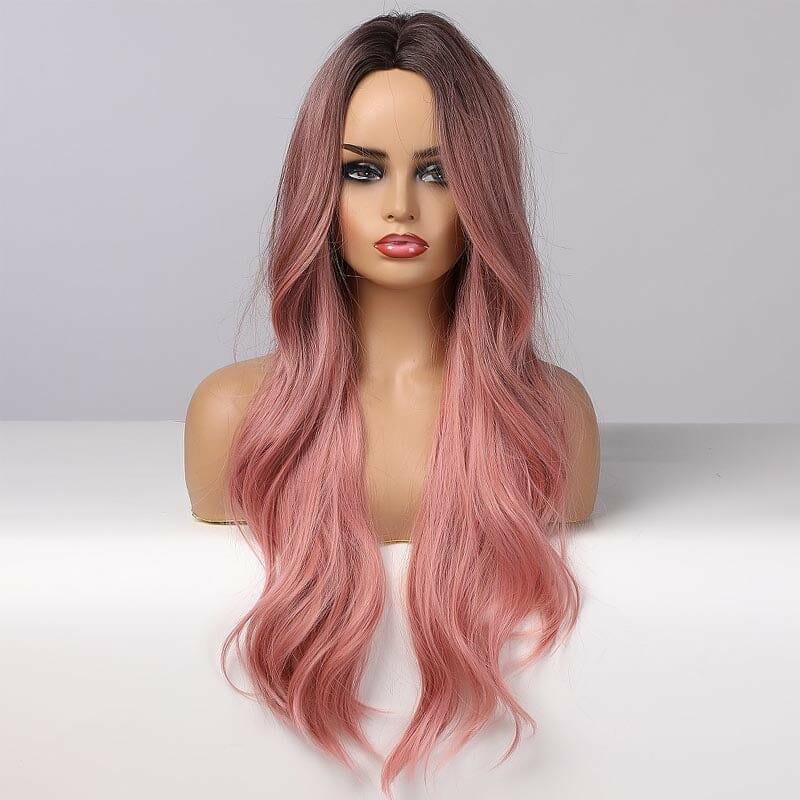 Front Lace Wig Fashion Cabelo Sintético Rosa Ondulado Raiz Preta 65cm