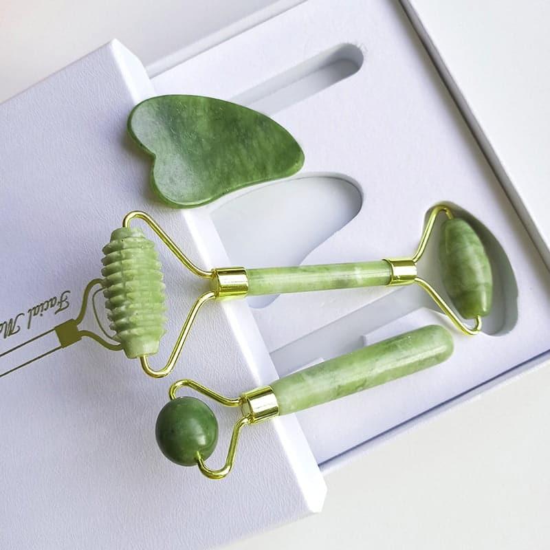 Kit Rolo de jade Massagem Facial Perfect Skin