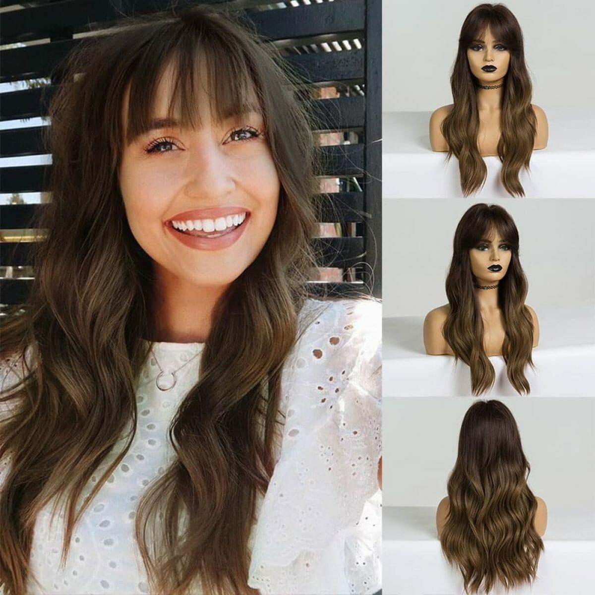 Front Lace Wig Fashion Cabelo Sintético Franja Castanho Claro 65cm