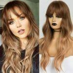 Front Lace Wig Fashion Cabelo Sintético Franja Acobreado II 65cm