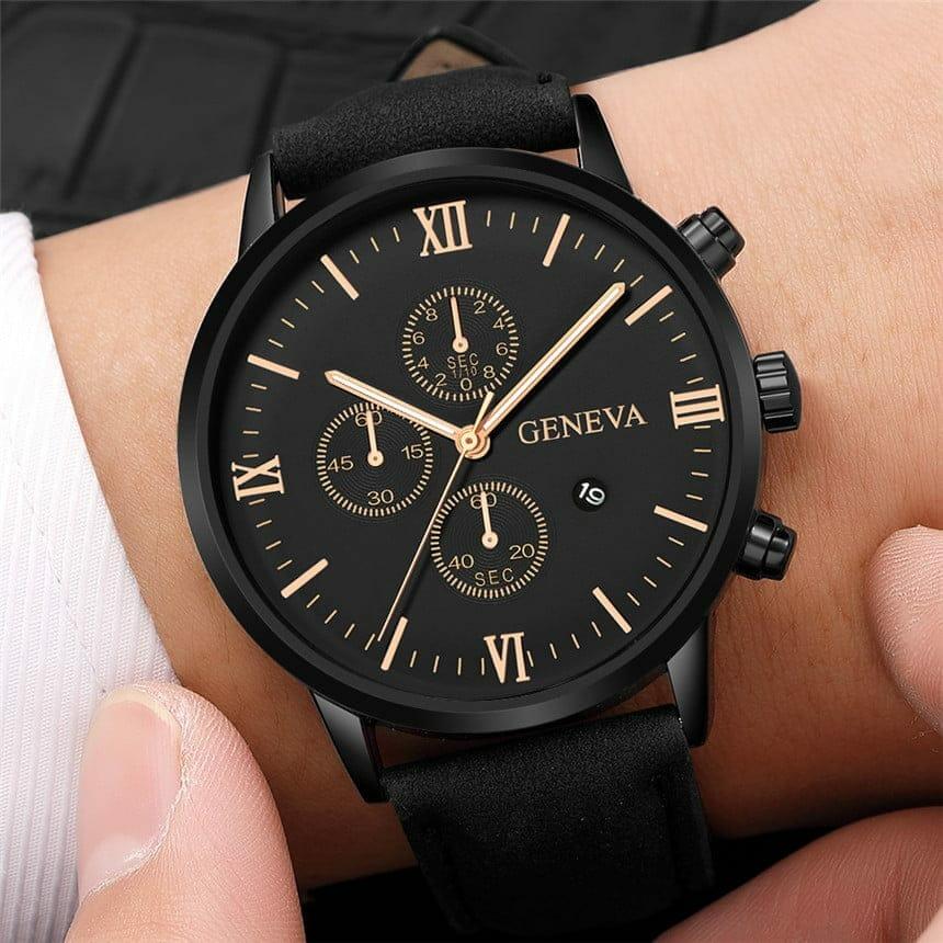 Relógio Masculino Esportivo Analógico Geneva de Couro Sintético