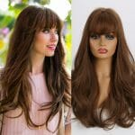 Front Lace Wig Fashion Cabelo Sintético Franja Chocolate Médio 65cm