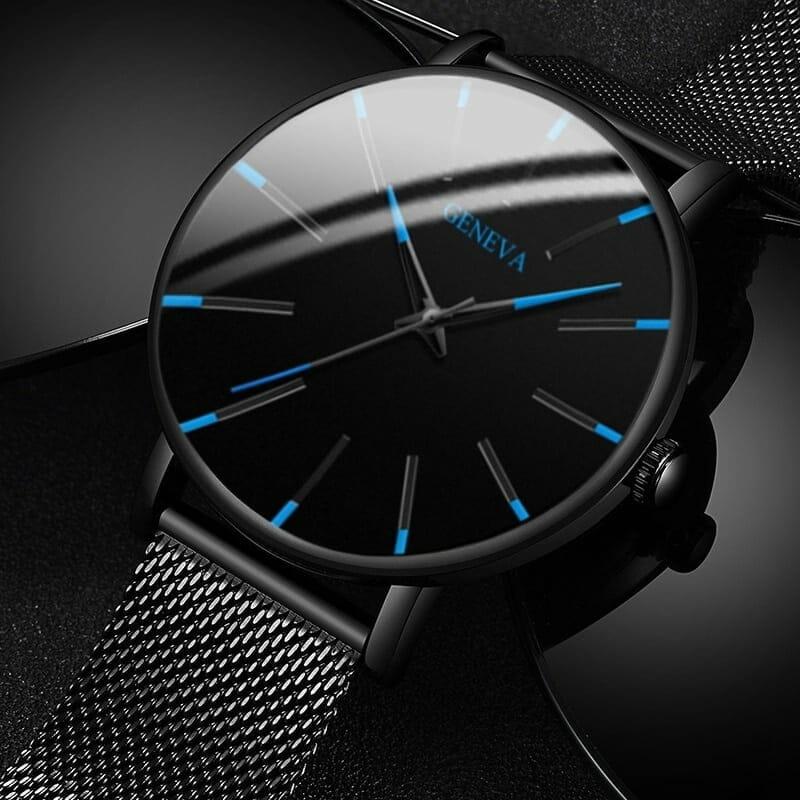 Relógio Analógico Masculino Minimalista com Pulseira e Case de Aço Inoxidável Geneva