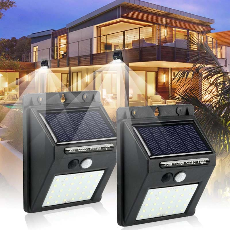 Luz de Segurança com Sensor de Movimento e Painel Solar - Sem Necessidade de Cabos e Fácil Instalação 4 Peças