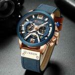 Relógio Curren Luxury Quartzo Masculino de Couro