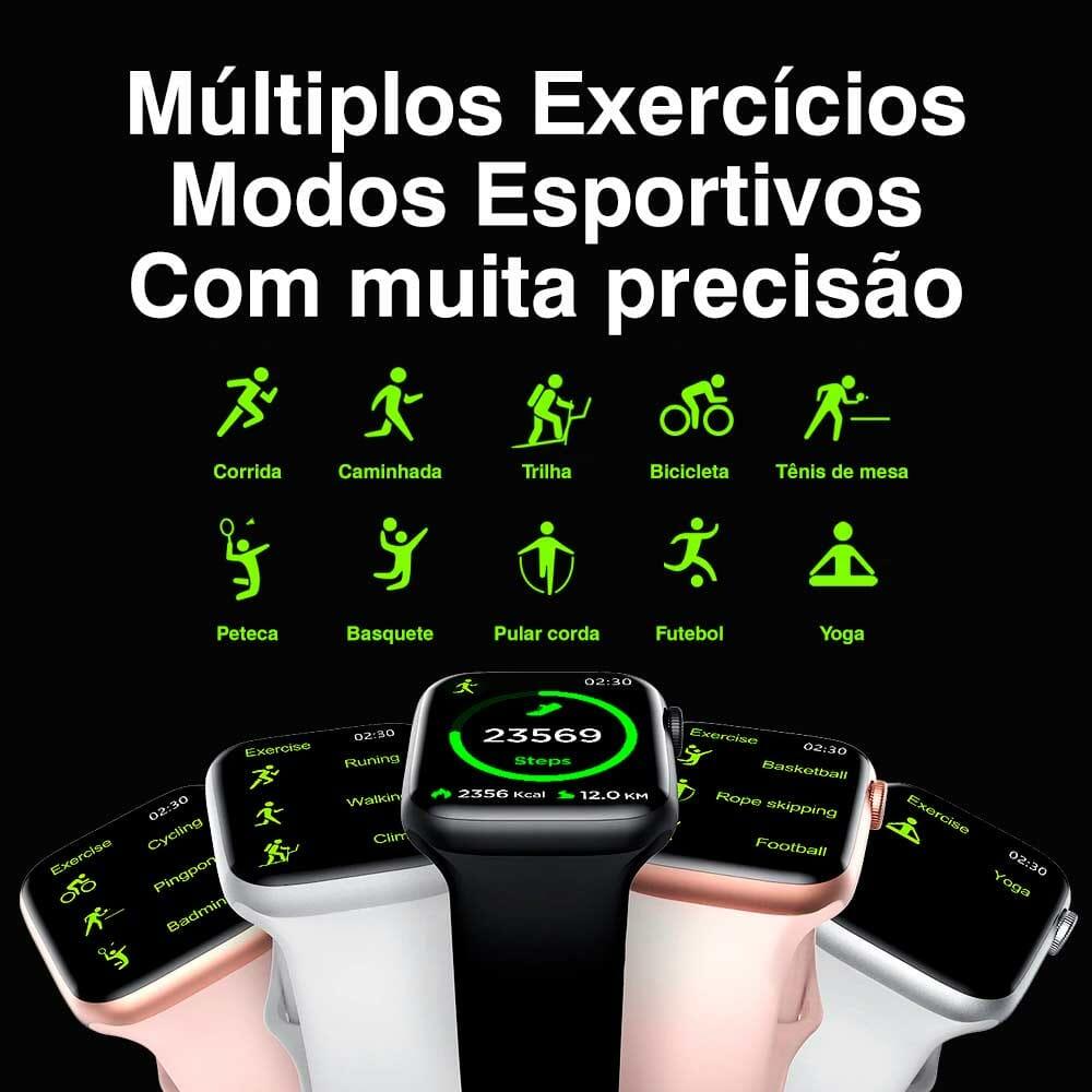 Smartwatch iwo 8 Plus com monitor cardíaco, lembrete de mensagem e ligação - Pulseira de Brinde