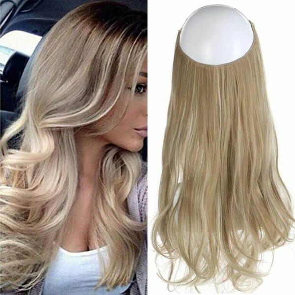 Aplique de Cabelo Mega Hair Wig Extension Loiro Bege Mesclado 50cm