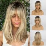 Front Lace Wig Fashion Cabelo Sintético Franja Loiro Gold 35cm