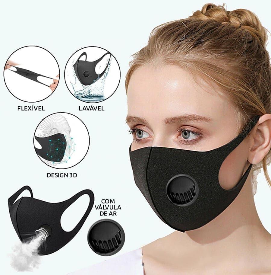 Máscara 3d Impermeável com Válvula Respiratória com Carvão Ativado 10 Unidades