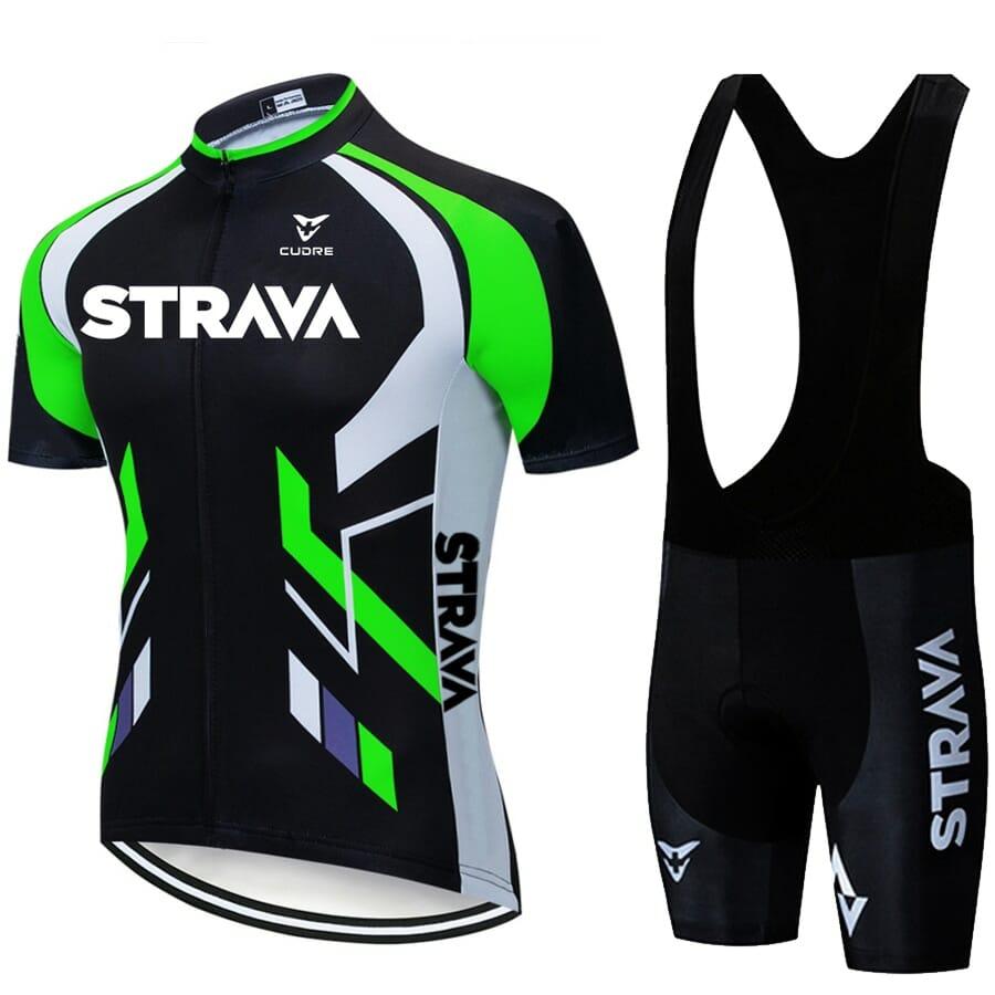 Camisa Short Ciclismo Conjunto Poliéster Original Verde Fosforescente