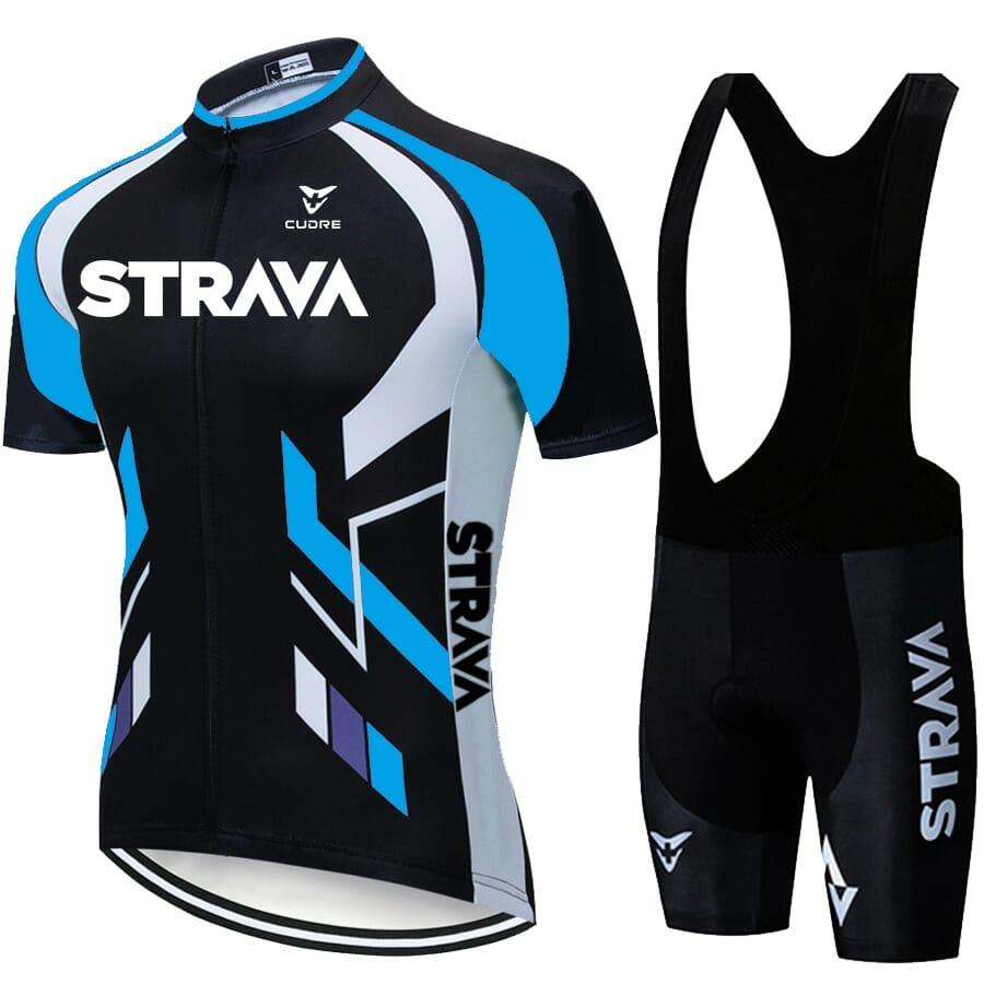 Camisa Short Ciclismo Conjunto Poliéster Original Azul